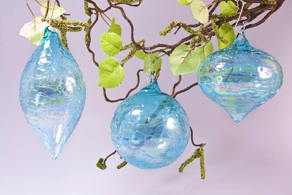 3 Glaskugeln im Set mit Seifenblasen-Optik in türkis