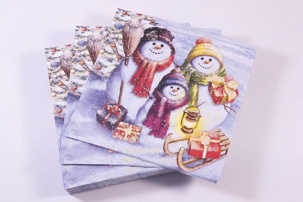Weihnachtsservietten im Großpack Schneemann