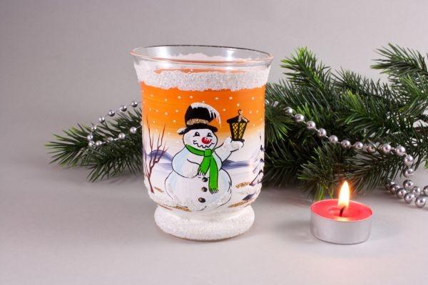 Windlichtbecher Schneemann mit Laterne orange