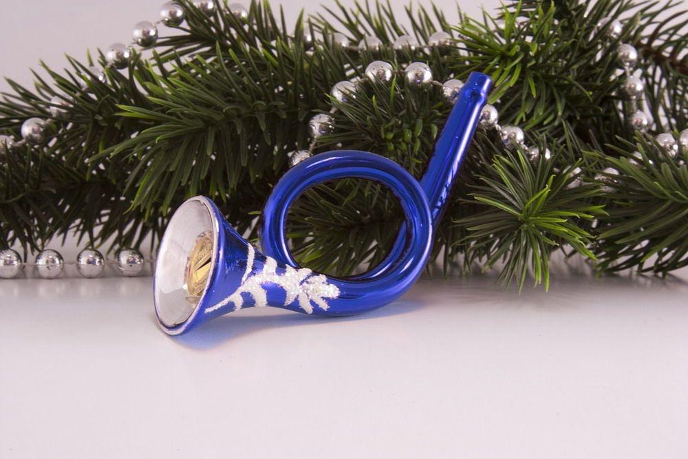 Trompete / Posthorn in blau