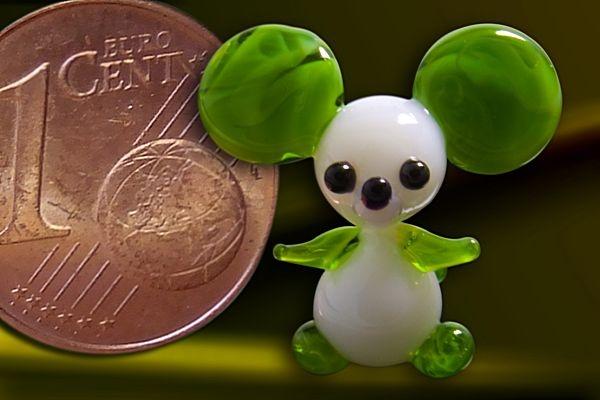 Glasfigur Glasmaus Mini-Maus aus Glas grün