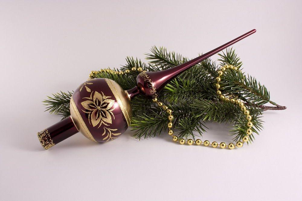 Baumspitze 8cm rot Glanz Stierblut mit Bronze