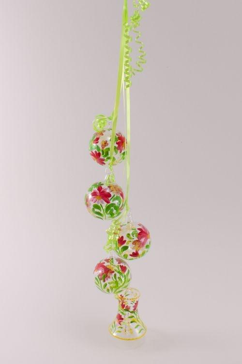 Dekoration aus Glas - Gebinde mit Glocke Blume rot