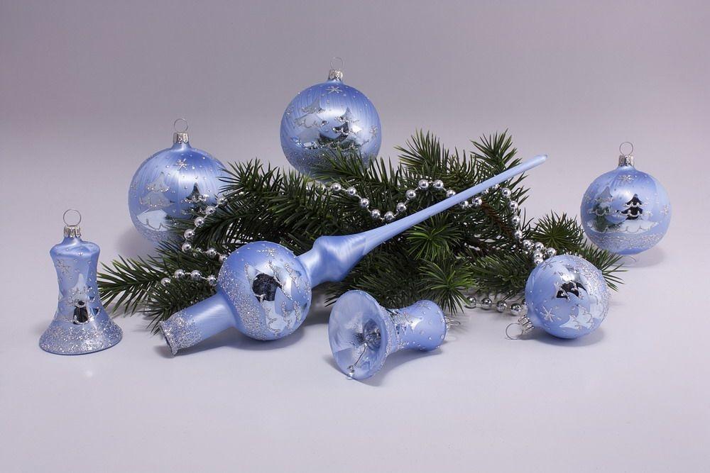 21 teiliges Set Eis-hellblau silberne Tanne
