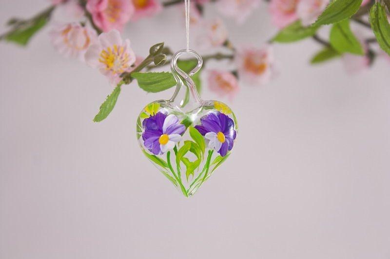 Mini-Herz 3,5 cm Miniatur Herz aus Glas Glasherz violett