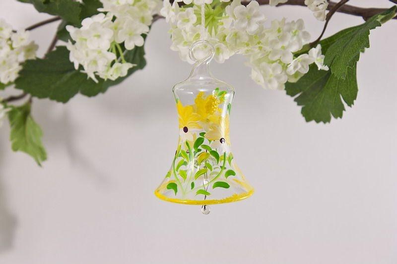 Glasglöckchen 4 cm mit Blumenmotiv in gelb