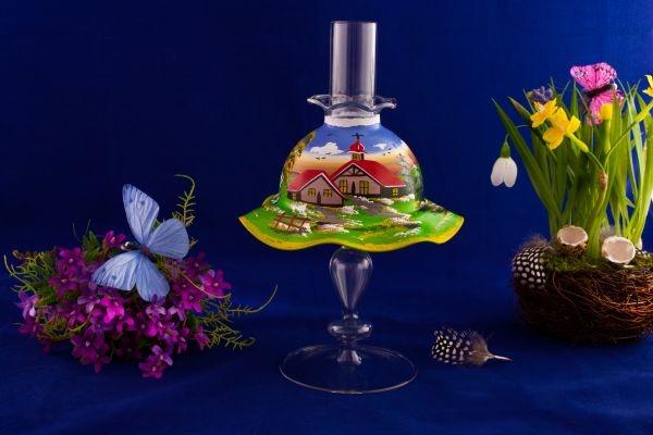 Teelichthalter Set Lampe mit Schirmchen in blau