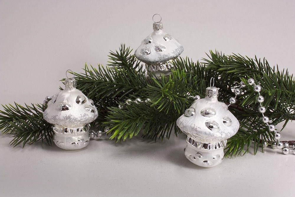 3 Pilze Eisweiss mit silber