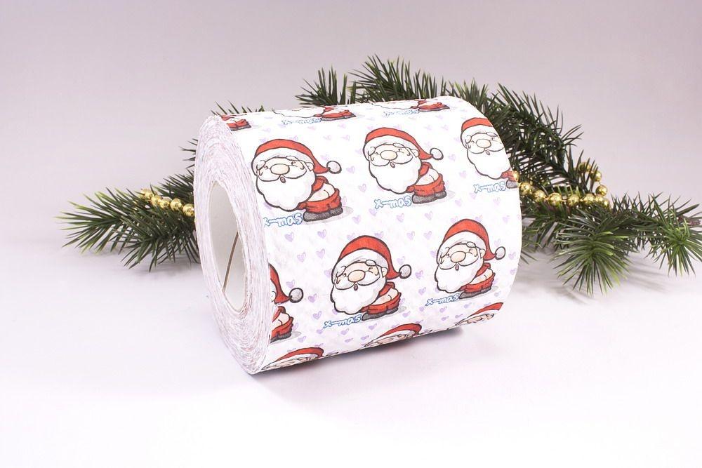 1 Rolle Toilettenpapier bedruckt Santa
