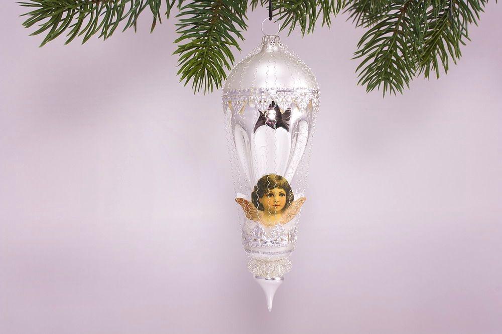 Antik style kleiner ballon mit engel in beige for Nostalgische weihnachtskugeln