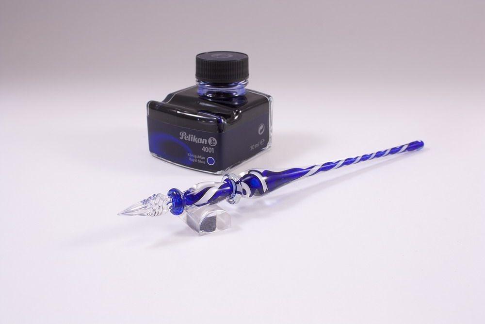 Geschenkset Glasschreiber weiß blau transparent