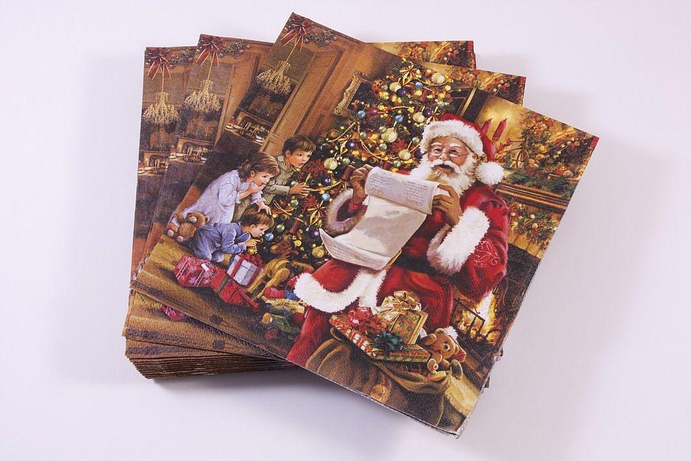 Weihnachtsservietten im Großpack  Santa