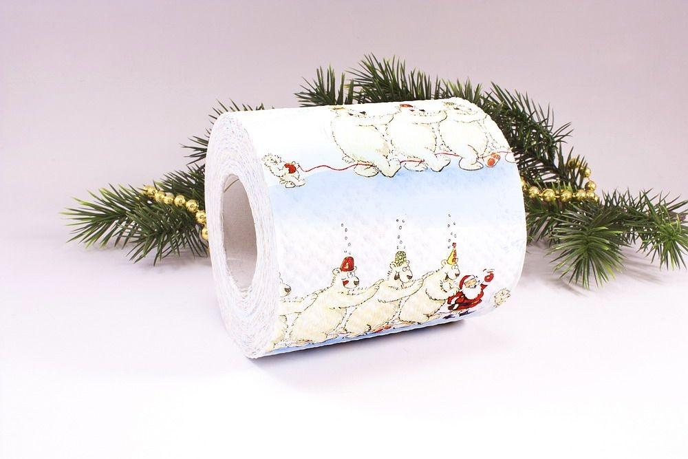 1 Rolle Toilettenpapier bedruckt Weihnachtspolonaise