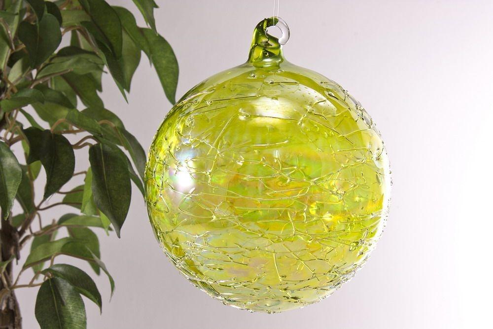 Glaskugel 10cm grün gelüstert