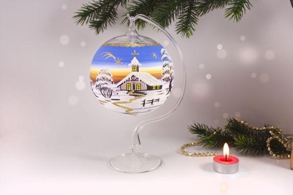 Teelichtkugel 12cm mit Glasständer im Set hellblau su