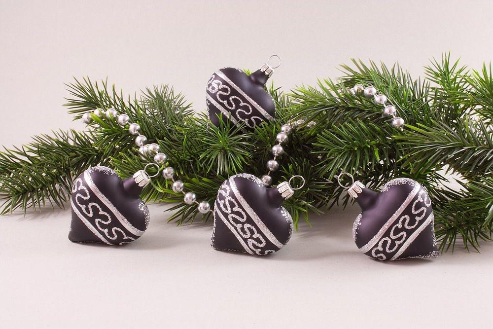 4 herzen schwarz silber christbaumkugeln christbaumschmuck und weihnachtskugeln aus glas - Weihnachtsbaumkugeln schwarz ...