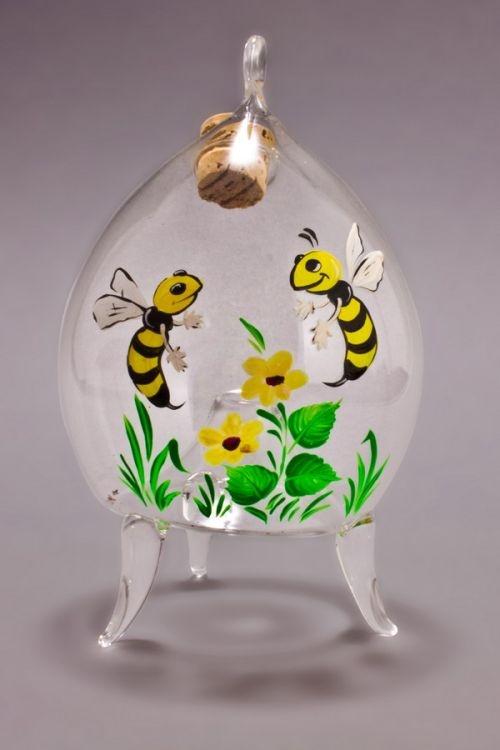 dekorative Fliegenfalle Wespenfalle aus Glas Motiv gelb