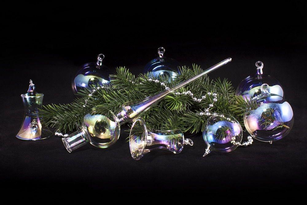 21tlg. Set Seifenblasenkugeln aus bunt schillerndem Glas