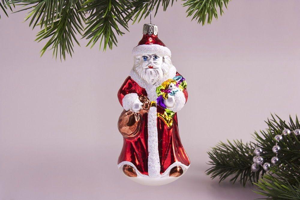 Weihnachtsmann Mit Geschenken Christbaumkugeln Christbaumschmuck