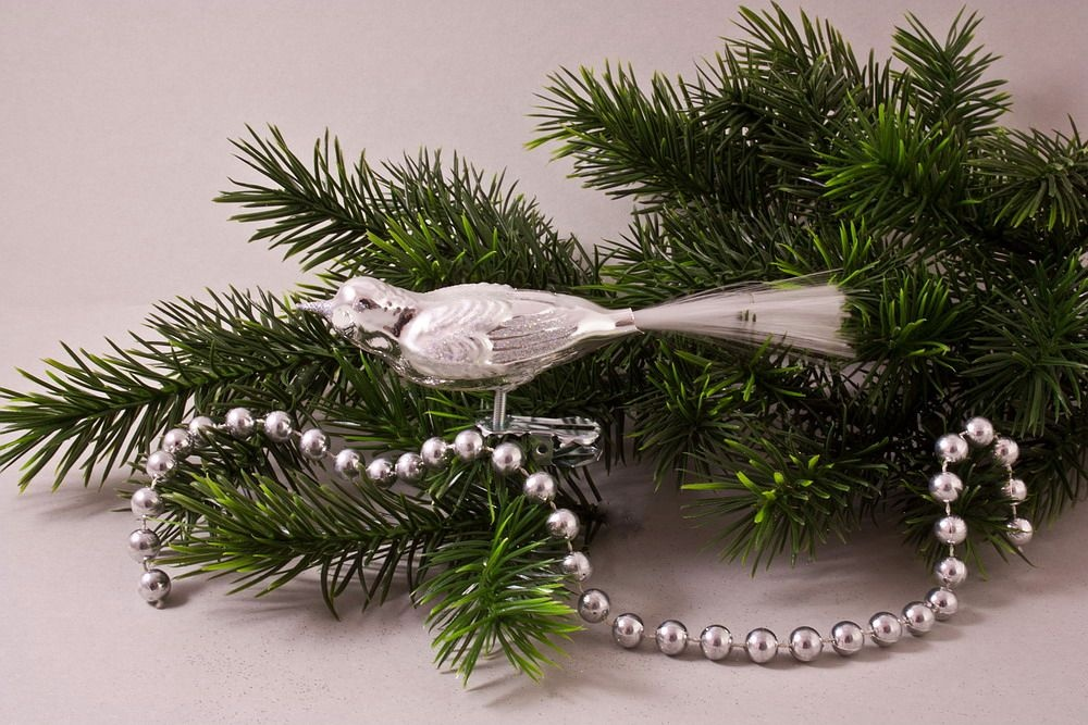1 Vogel Silber Glanz mit Glimmer