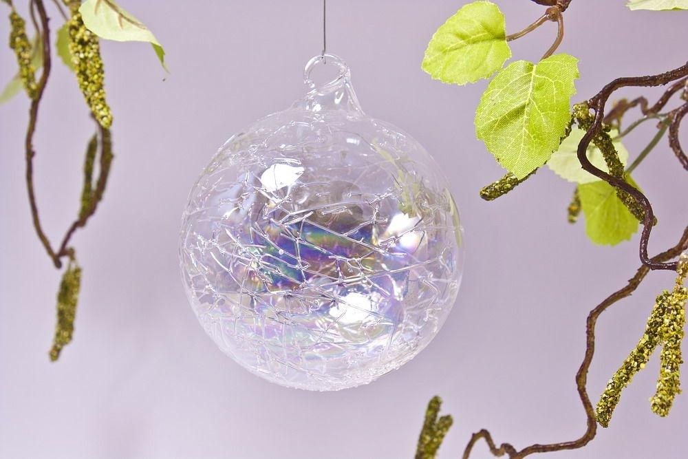 Glaskugel 8cm in Seifenblasenoptik klar