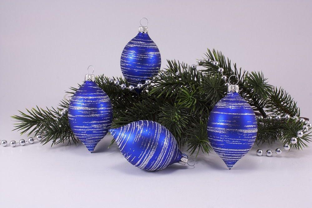 Christbaumkugeln Blau.4 Zitronen Blau Matt Silber Geringelt Weihnachtskugeln Aus Lauscha