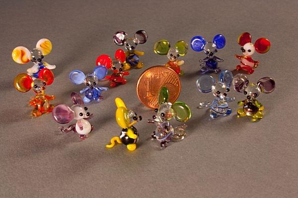 Glasfiguren 6 Mini-Mäuse Glasmäuse gemischt eine Maus gratis