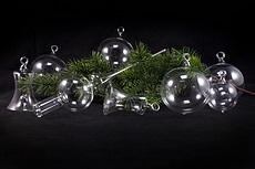 Weihnachtskugeln aus Lauscha glasklar unbemalt