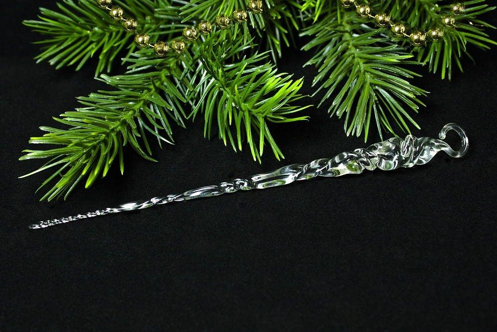 Eiszapfen aus massiven Glas transparent ca. 12 cm