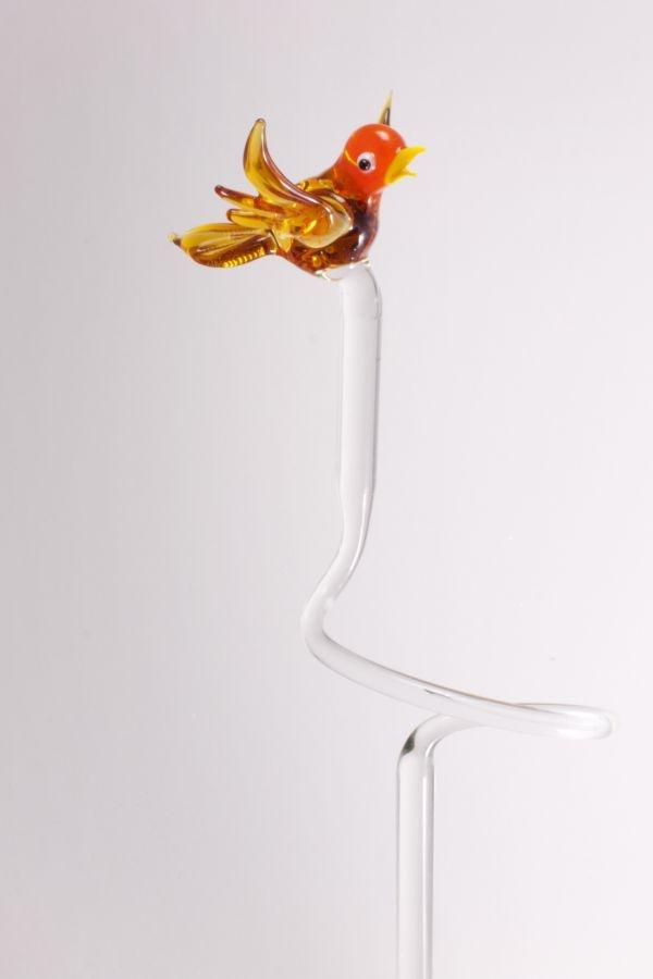 Orchideenstab ca. 40 cm mit Vogel orange bernstein