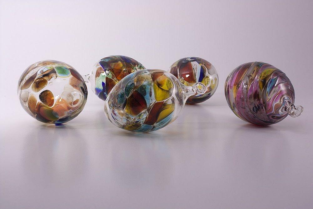 6 bunte Glaseier im Set 7cm