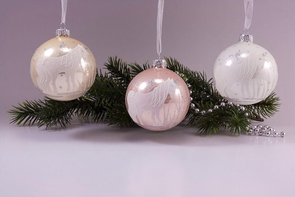 Set 3 Weihnachtskugeln Einhorn