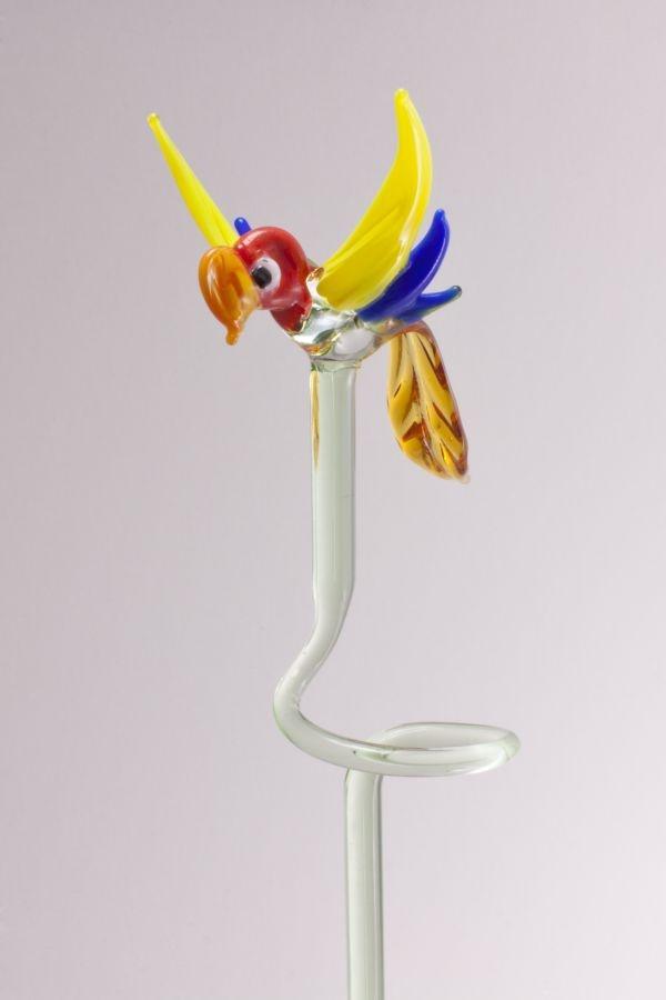 Orchideenstab ca. 40 cm mit Papagei orange gelb blau