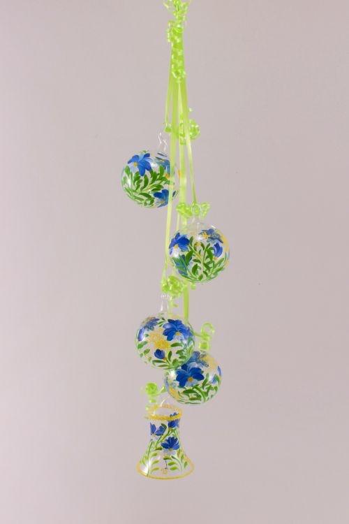 Dekoration aus Glas - Gebinde mit Glocke Blume blau