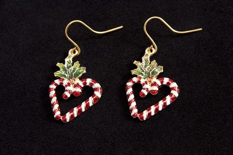 Ohrringe Ohrhänger 2 Zuckerstangen als Herz