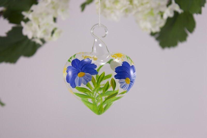 Glasherz 5 cm Herz aus Glas - Blume blau