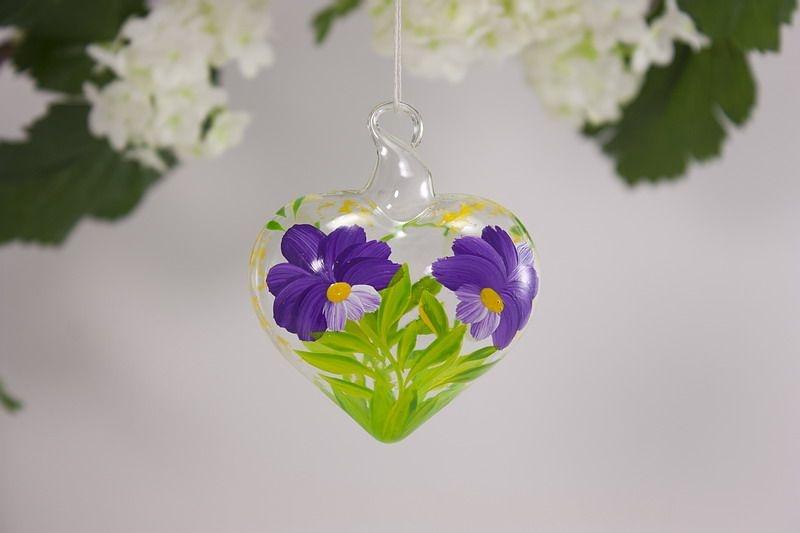 Glasherz 5 cm Herz aus Glas - Blume lila