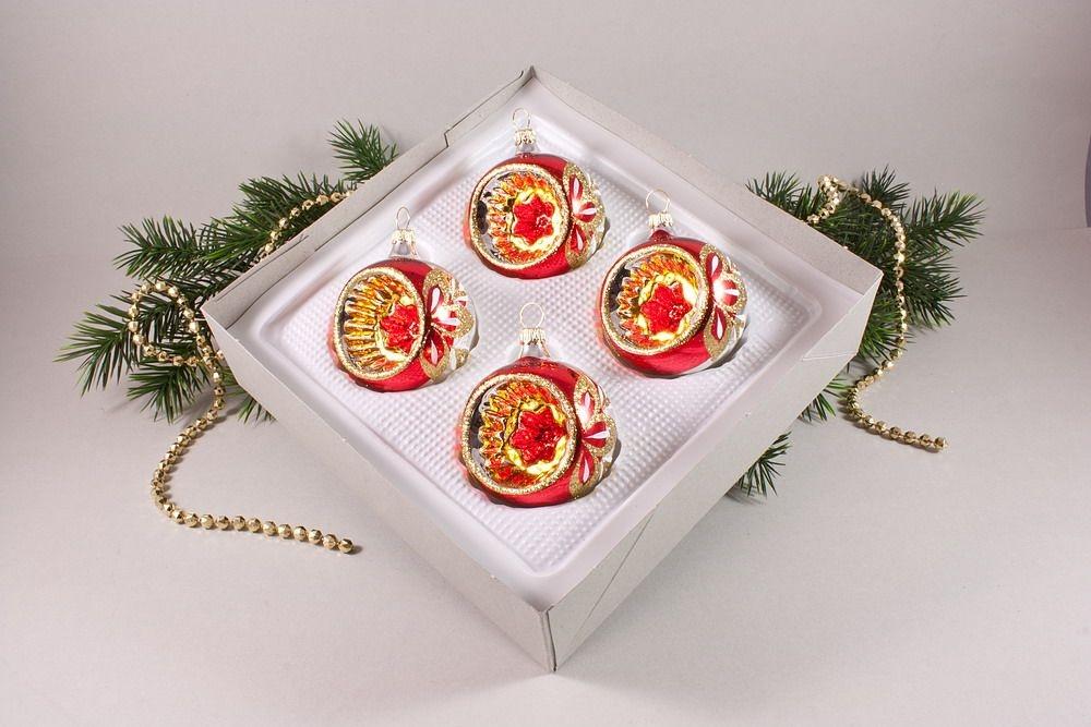 4 reflexkugeln 6 cm im set rot gold christbaumkugeln. Black Bedroom Furniture Sets. Home Design Ideas