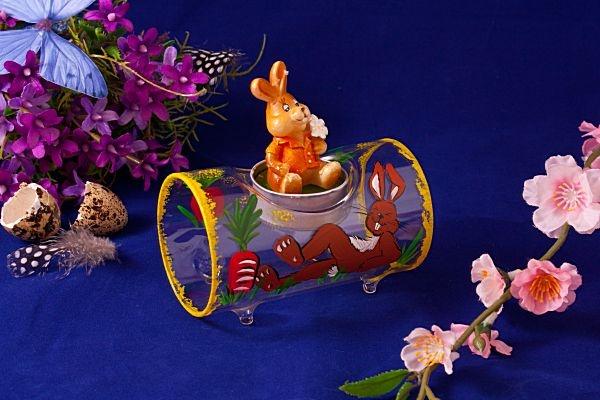 Teelichthalter Glasröhre Hase transparent