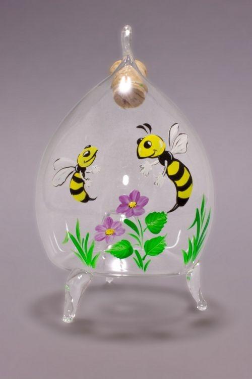 Fliegenfalle aus Glas dekoratives Motiv  fuchsia