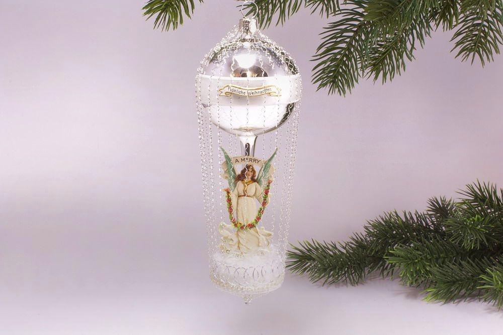 Antik Style - Ballon mit Engel A Merry Christmas -