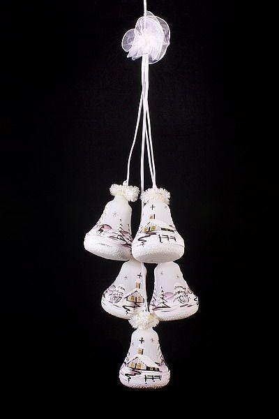 Glockengehänge Winterlandschaft beleuchtet weiß braun 5tlg.