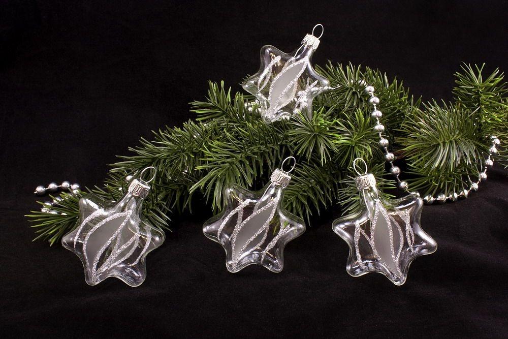 4 Sterne aus Glas transparent silber gst