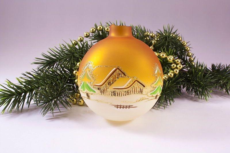Beleuchtete Christbaumkugeln.Ersatzkugel Beleuchtete Kugelgehänge Waldhaus Orange Glaskugeln Bedruckt Und Handbemalt