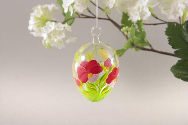 Osterei aus Glas mit roter Blume ca. 5 cm