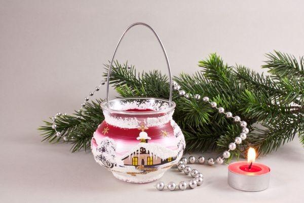 Teelichthalter Windlicht mit Bügel rot