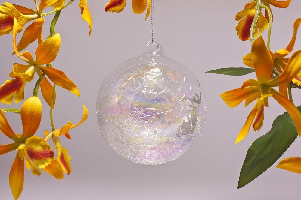 Glaskugel 10cm in Seifenblasenoptik klar