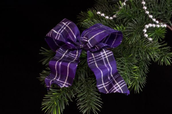 violett silber karierte Christbaumschleife
