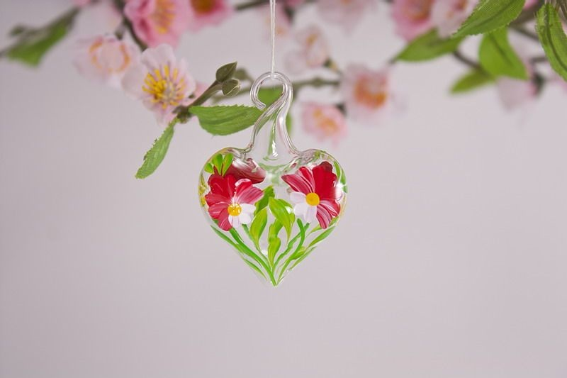 Mini-Herz 3,5 cm Miniatur Herz aus Glas Glasherz rot