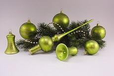 Christbaumschmuck apfelgrün matt geringelt